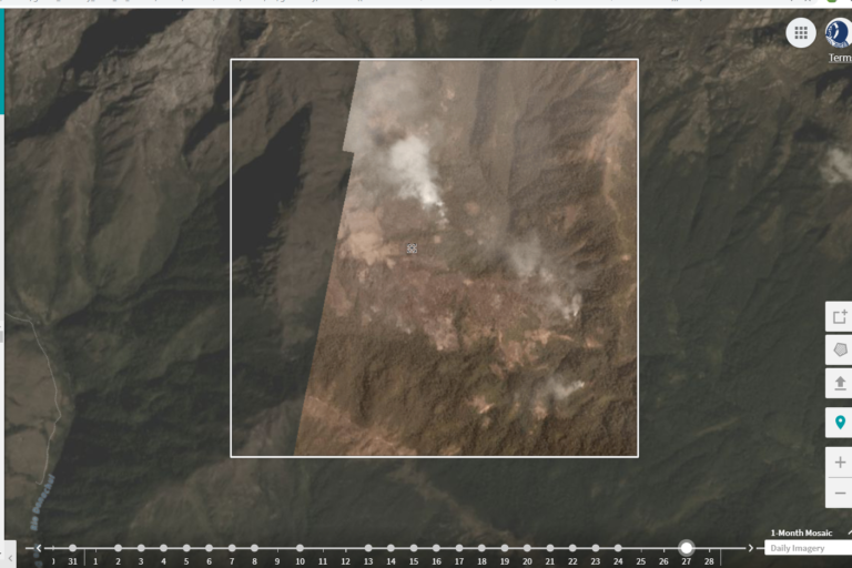 Incendio dentro del Parque Nacional Sierra Nevada de Santa Marta en febrero de 2019. Foto satelital de Parques Nacionales Naturales de Colombia.