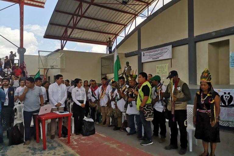 En la instalación de la minga, el 10 de abril estuvo el viceministro del Interior, Carlos Soler. Foto: Robinsón López, coordinador de Derechos Humanos de la Opiac.