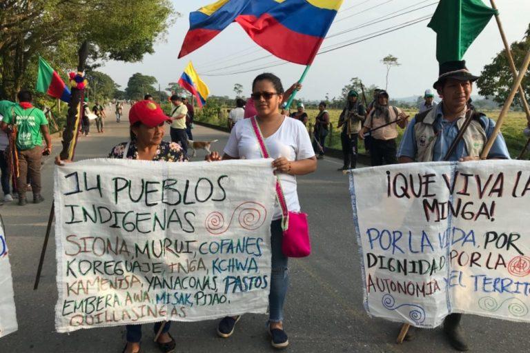 Hasta ahora la minga del Putumayo no ha hecho bloqueos como sucedió en el departamento del Cauca. Foto: Robinson López, coordinador de Derechos Humanos de la Opiac.