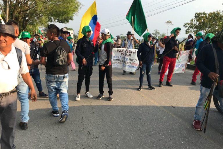 La minga indígena del Putumayo inició el 10 de abril. Foto: Robinson López, coordinador de Derechos Humanos de la Opiac.