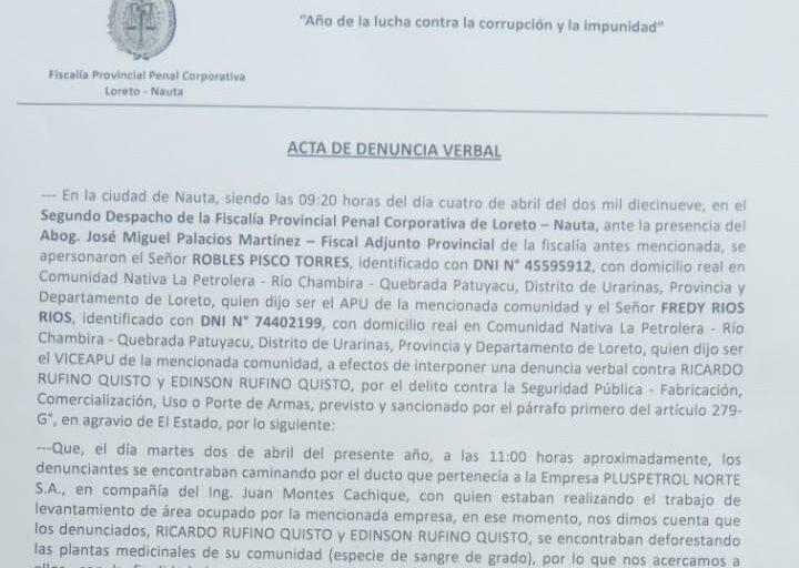 Denuncia presentada el 4 de abril ante la Fiscalía Penal de Nauta. Foto: Orpio.