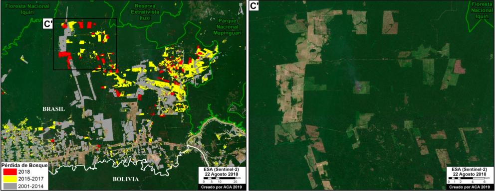 Uno de los hotspots de deforestación en Brasil se encuentra cerca de la frontera con Bolivia. Imagen: MAAP / ACCA.