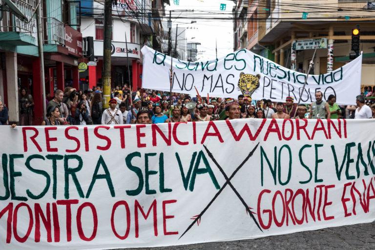 Pancartas en la que los indígenas insisten en que sus territorios no están en venta. Foto: Mitch Anderson / Amazon Frontlines.