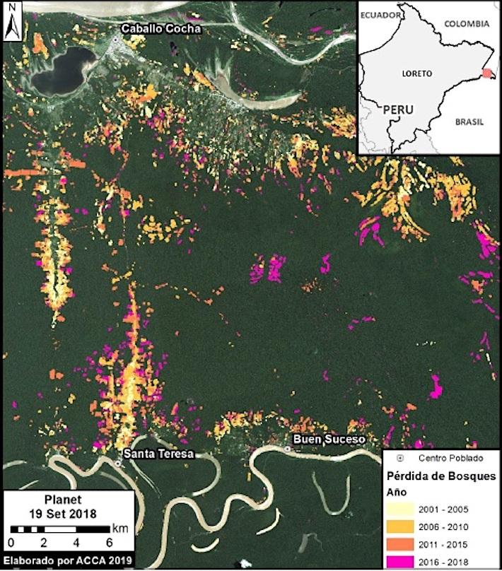 La mayor cantidad de alertas de deforestación se registraron entre el 2011 y el 2016. Con el mejoramiento del camino vecinal - que apoyó Devida en el 2018-, los pobladores siguen registrando alertas de nuevas chacras en su terreno comunal. Crédito: Mapa realizado por ACCA con información de Geobosques/Ministerio del Ambiente.