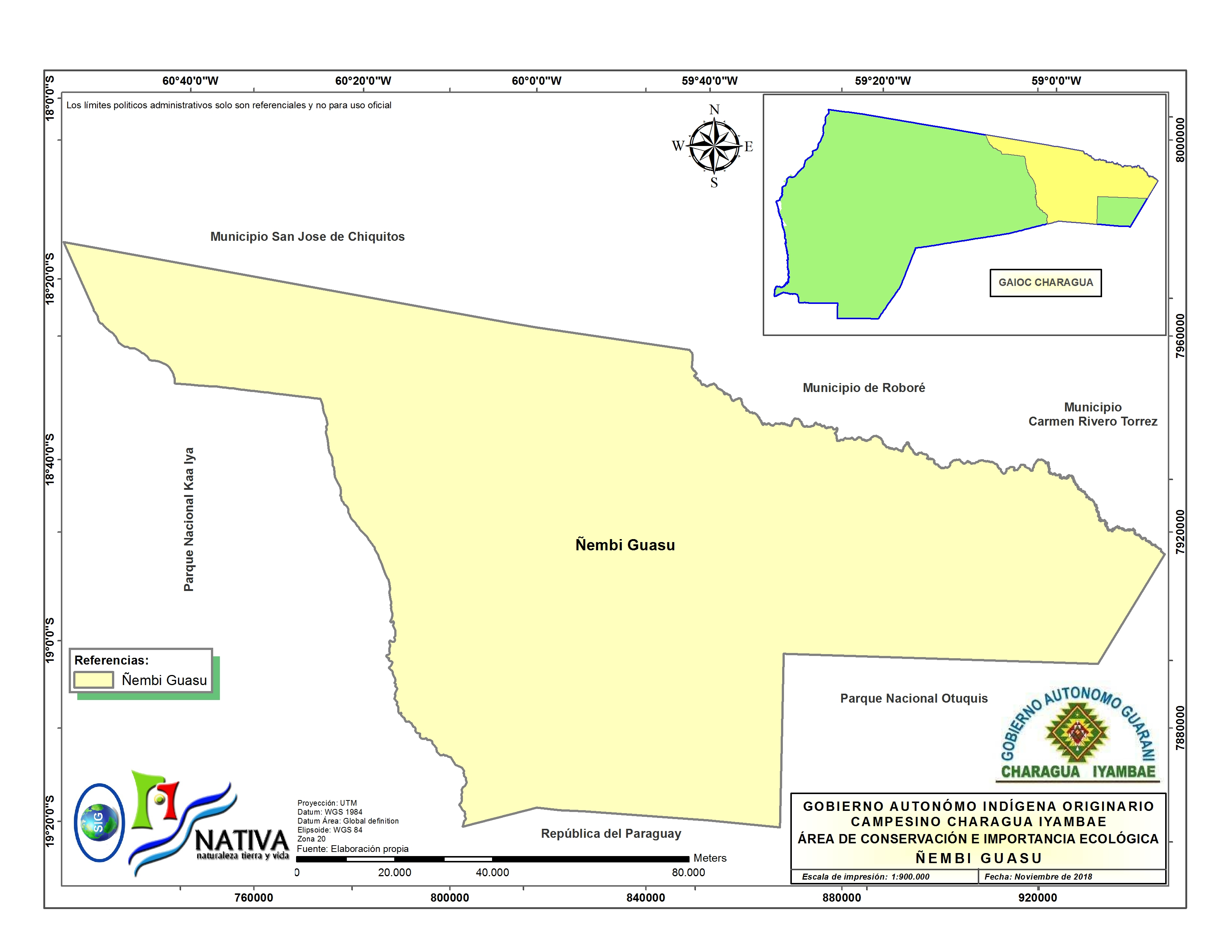 El territorio de Ñembi Guasu se extiende por más de un millón de hectáreas. Fuente: Nativa.