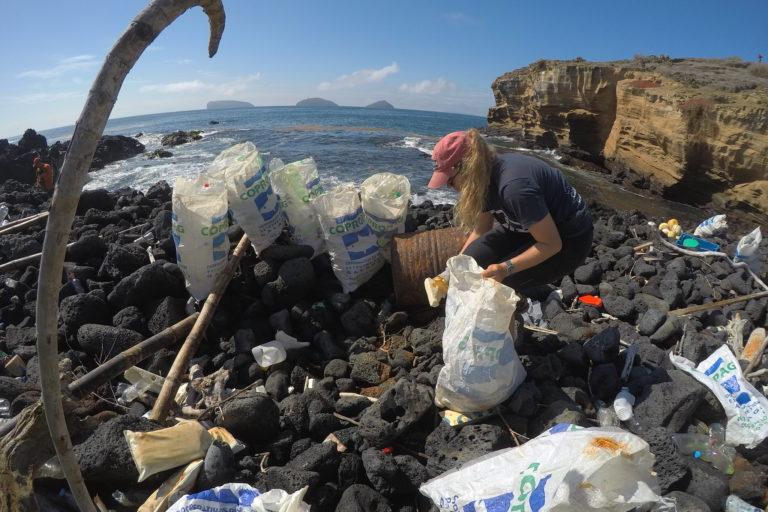 océanos plásticos y basura marina Toneladas de basura se recogieron de las playas en islas Galápagos. Foto: Parque Nacional Galápagos.