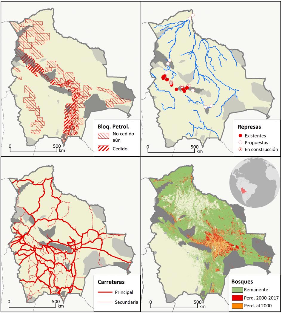 Los mapas muestran la presencia de las amenazas dentro de áreas naturales protegidas. Fuente: Estudio Un año crucial para la política de la conservación en Bolivia