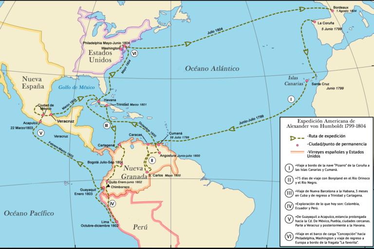 Alexander von Humboldt y Aime Bonpland recorrieron Venezuela, Colombia, Cuba, Ecuador, Perú y México. Fuete: Internet.