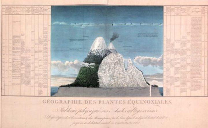 El Tableau physique muestra todas las características físicas, climáticas y ecológicas del volcán Chimborazo. Imagen: Diarios de Alexander von Humboldt.