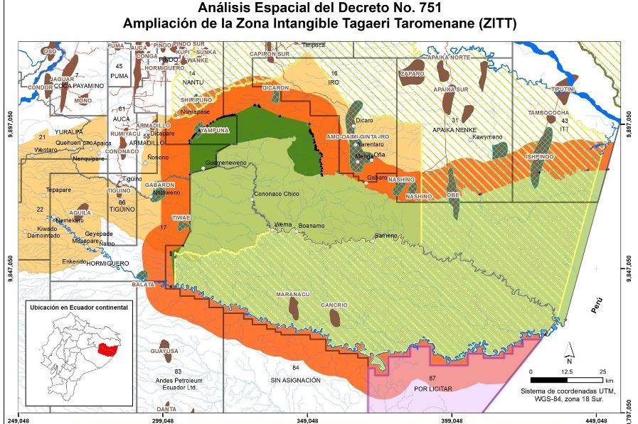 En naranja se aprecia la zona de amortiguamiento y cómo en algunas zonas se cruza con campos petroleros del bloque ITT, 31, 16, 17 y el polémico pero aún por licitar bloque 87. Fragmento de mapa elaborado por Fundación Aldea.