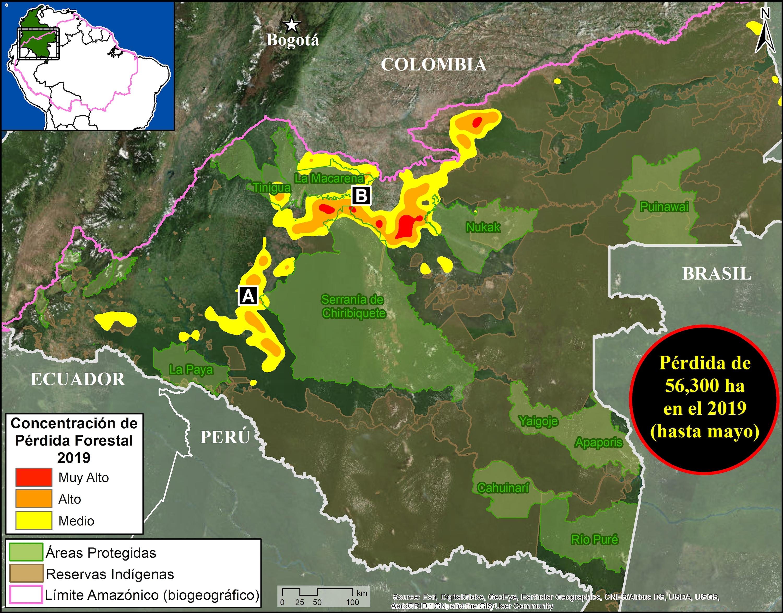 Puntos calientes de deforestación en la Amazonía colombiana, 2019. Datos: UMD/GLAD, RUNAP, RAISG.