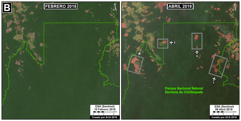 Zoom B. Zona Norte del Parque Nacional Chiribiquete. Datos: Planet.