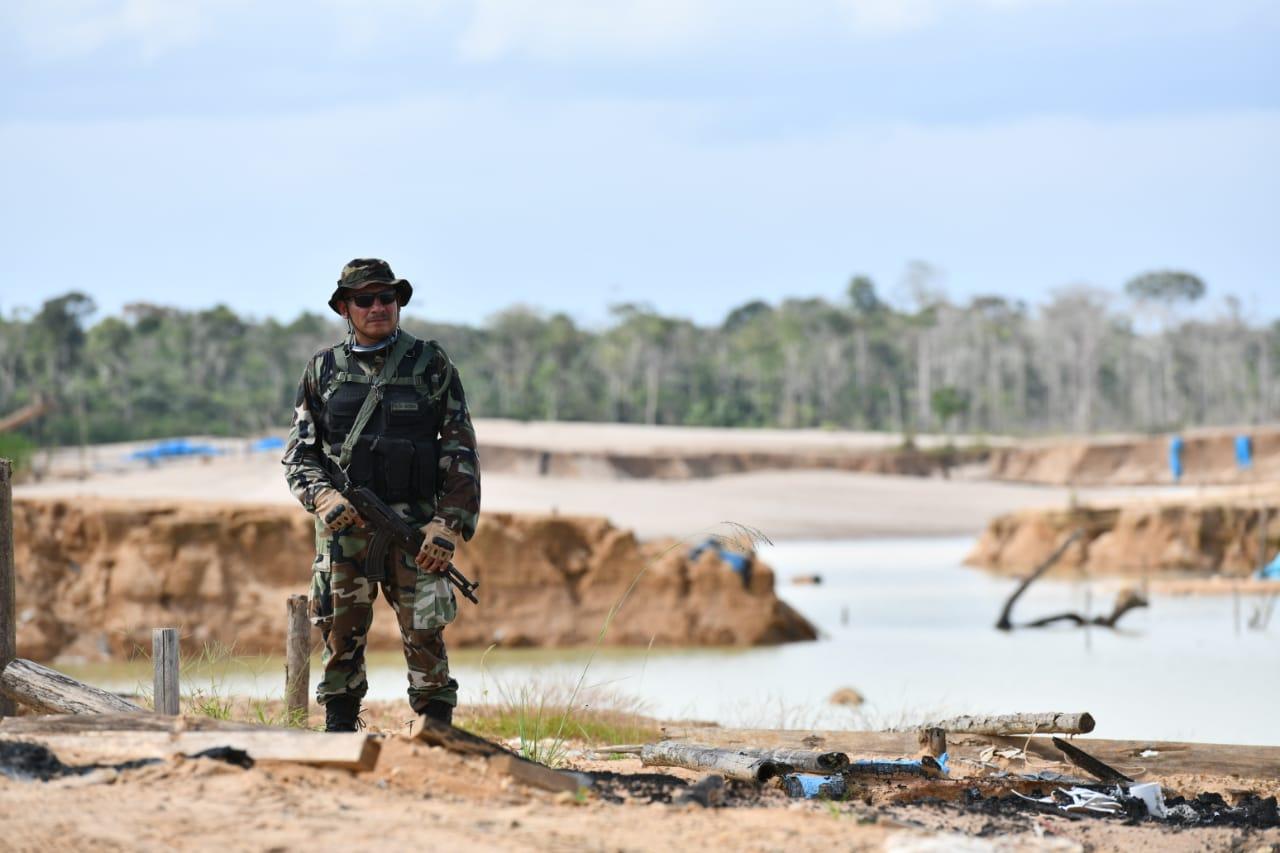 La Operación Mercurio 2019, que comenzó el 19 de febrero, busca erradicar toda actividad ilegal en La Pampa, ubicada en la zona de amortiguamiento del Tambopata. Foto: Ministerio del Interior.