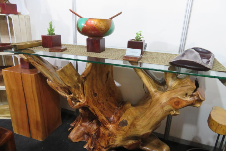 Una raíz de cedro salida del Parque Nacional del Manu ha sido la base de este singular mueble. Foto: Yvette Sierra Praeli.