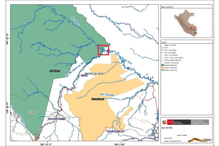 Mapa muestra la zona donde se rescatan los árboles que salen del Manu. Fuente: Sernanp.