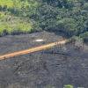Una carretera en medio de bosque quemado en la Amazonía colombiana. Foto: Jorge Contreras.
