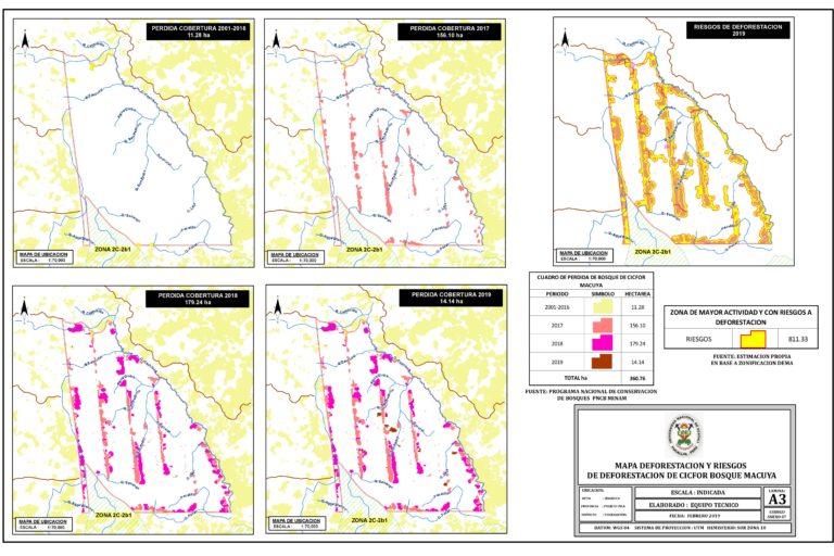 Las imágenes muestran cómo avanzó la deforestación en el Bosque Macuya. Fuente: Ingeniería forestal UNU.