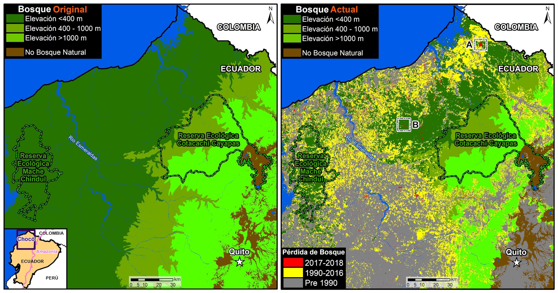 Comparación bosque original y su estado a 2018. Datos: MAE, Hansen/UMD/Google/USGS/NASA.