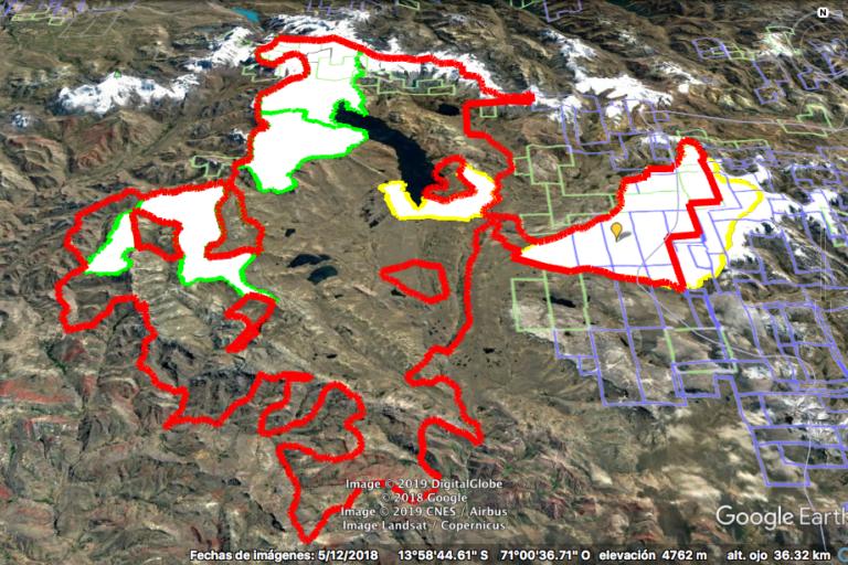Imagen de Google Earth muestra la superposición de las concesiones mineras con el territorio solicitado como Área de Conservación Regional Ausangate. Foto: Google Earth.