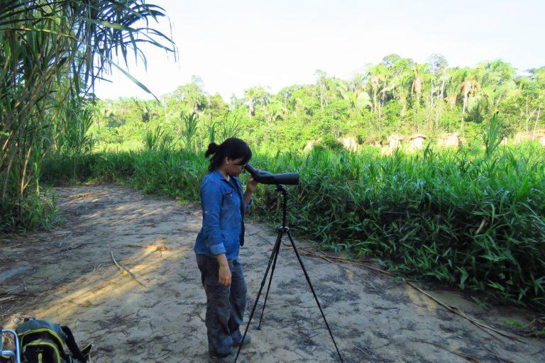 Jessica Pisconte acaba de iniciar una investigación sobre los niveles de mercurio en las aves de Tambopata. Foto: Archivo personal.
