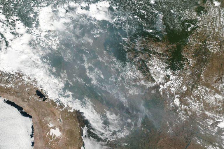 Incendios en la Amazonía de Brasil. Imágenes satelitales muestran el desplazamiento de la contaminación generada por los incendios en la Amazonía. Foto: NASA Worldview, Earth Observing System Data and Information System (EOSDIS). Caption: Lynn Jenner.