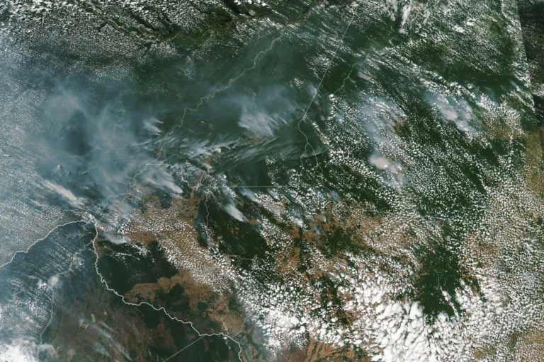 Incendios en la Amazonía de Brasil. Los vientos han llevado las cenizas a ciudades brasileñas alejadas de la Amazonía. Foto: NASA Earth Observatory images by Lauren Dauphin, using MODIS data from NASA EOSDIS/LANCE and GIBS/Worldview and VIIRS data from NASA EOSDIS/LANCE and GIBS/Worldview, and the Suomi National Polar-orbiting Partnership. Caption by Adam Voiland.
