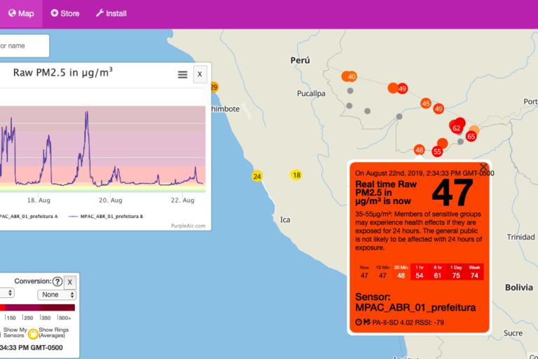 Incendios en la Amazonía de Brasil. Concentración de PM 2.5 en la frontera Brasil-Perú-Bolivia para el 22 de agosto 3 pm. Foto: Purpleair.com