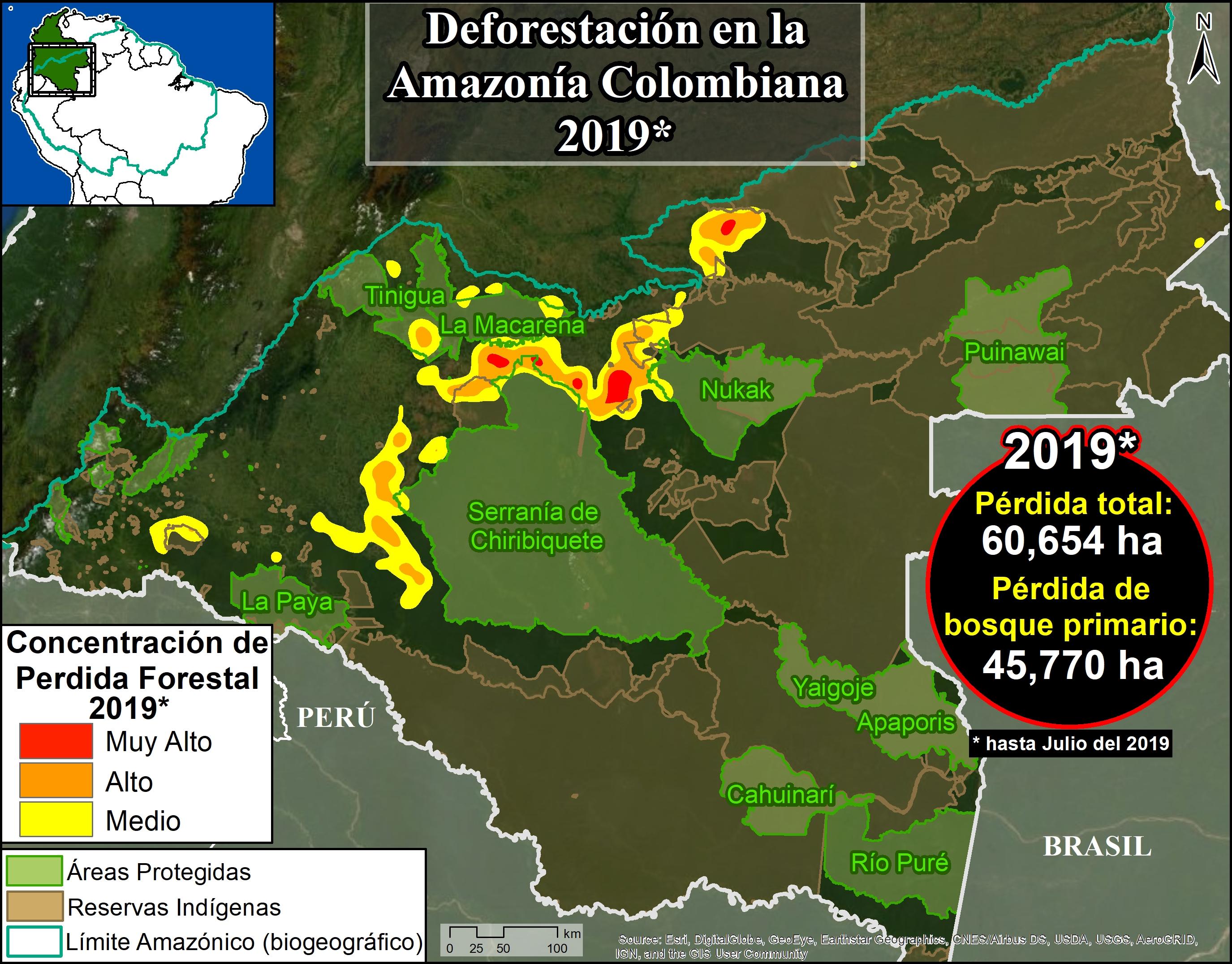 Deforestación parque Tinigua. Mapa Base. Hotspots de deforestación en la Amazonía colombiana. Datos: UMD/GLAD, RUNAP, RAISG
