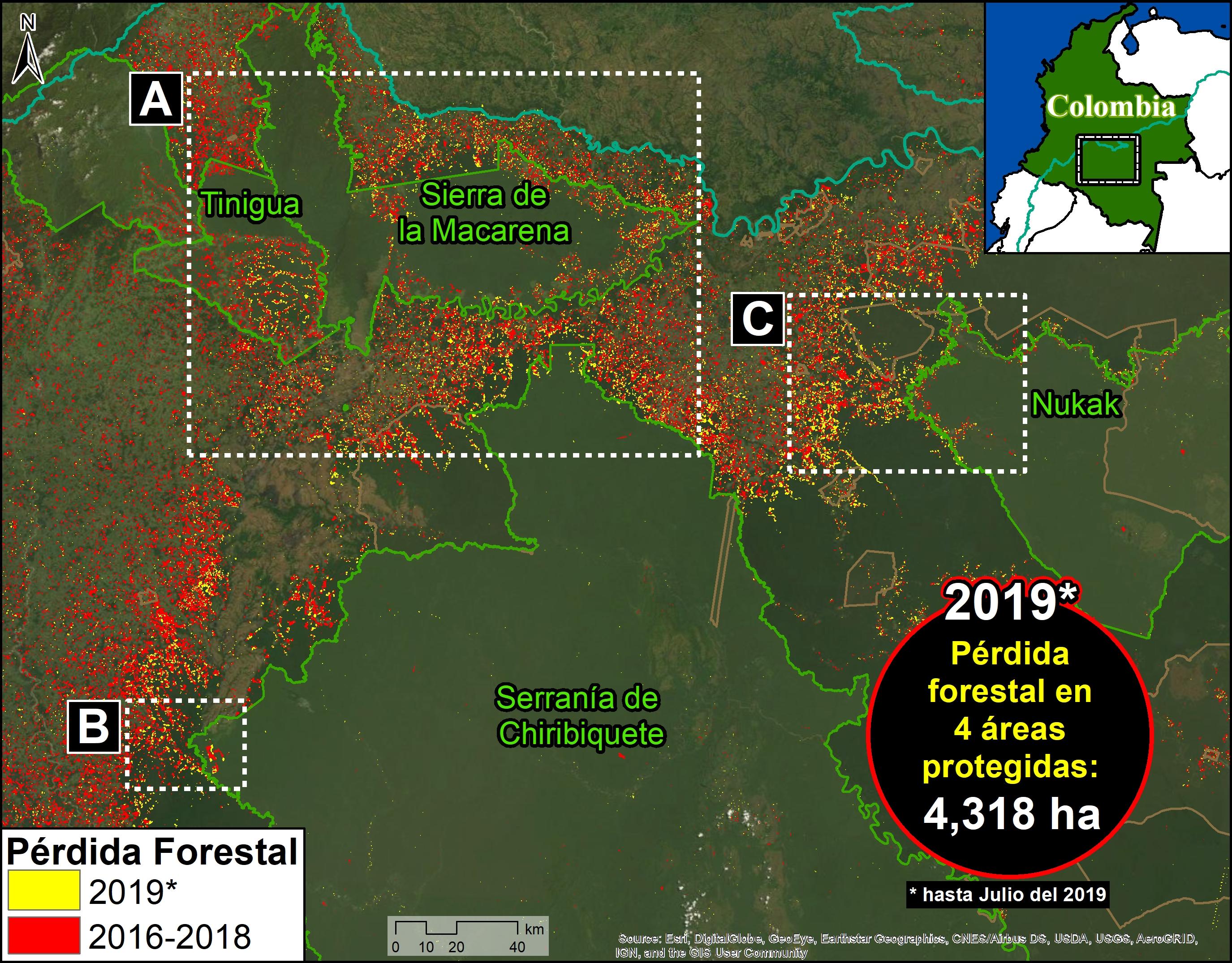 Deforestación parque Tinigua. Mapa de Deforestación en Áreas Protegidas. Datos: UMD/GLAD, Hansen/UMD/Google/USGS/NASA, RUNAP, RAISG