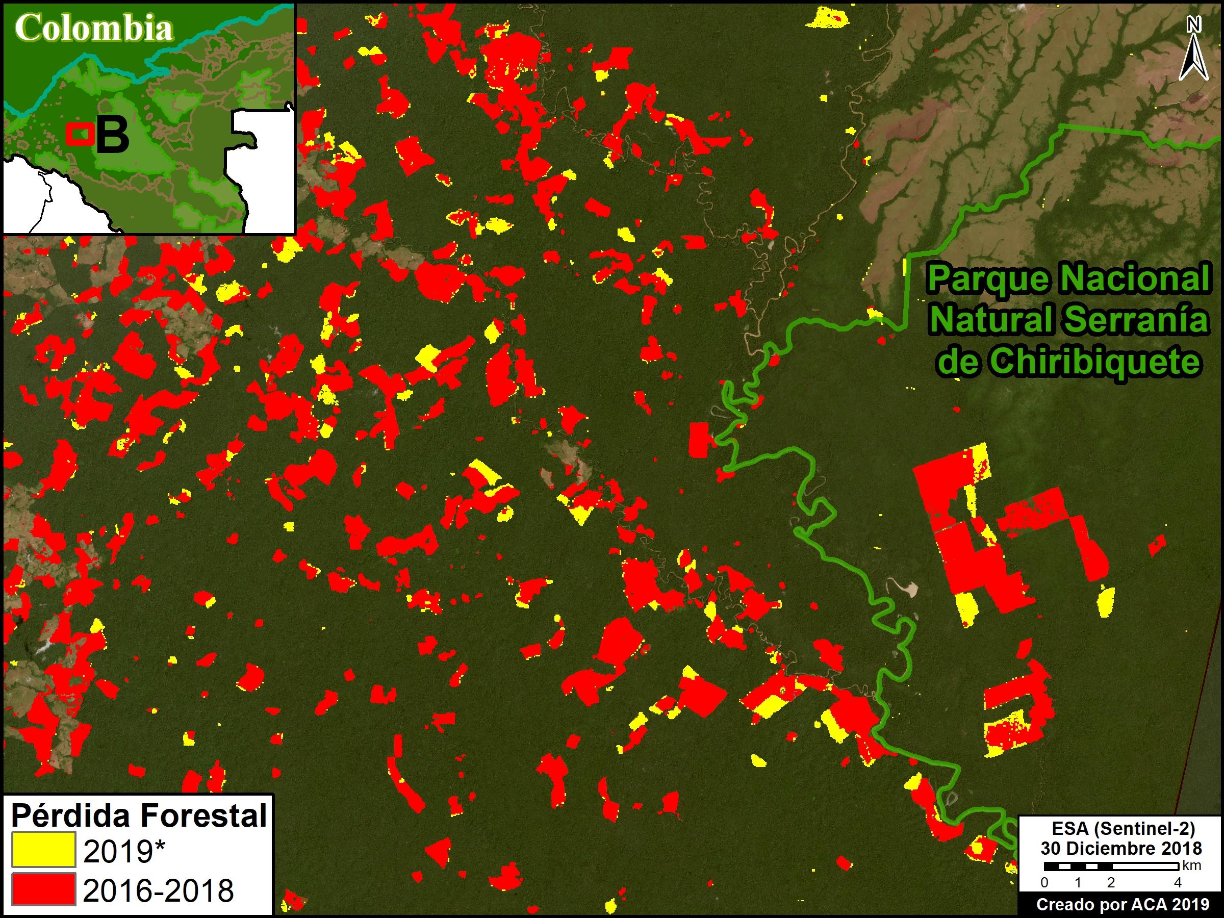 Deforestación parque Tinigua. Zoom B. Deforestación en el Parque Nacional Serranía de Chiribiquete (sector oeste), *hasta 25 de julio. Datos: UMD/GLAD, Hansen/UMD/Google/USGS/NASA, RUNAP, RAISG