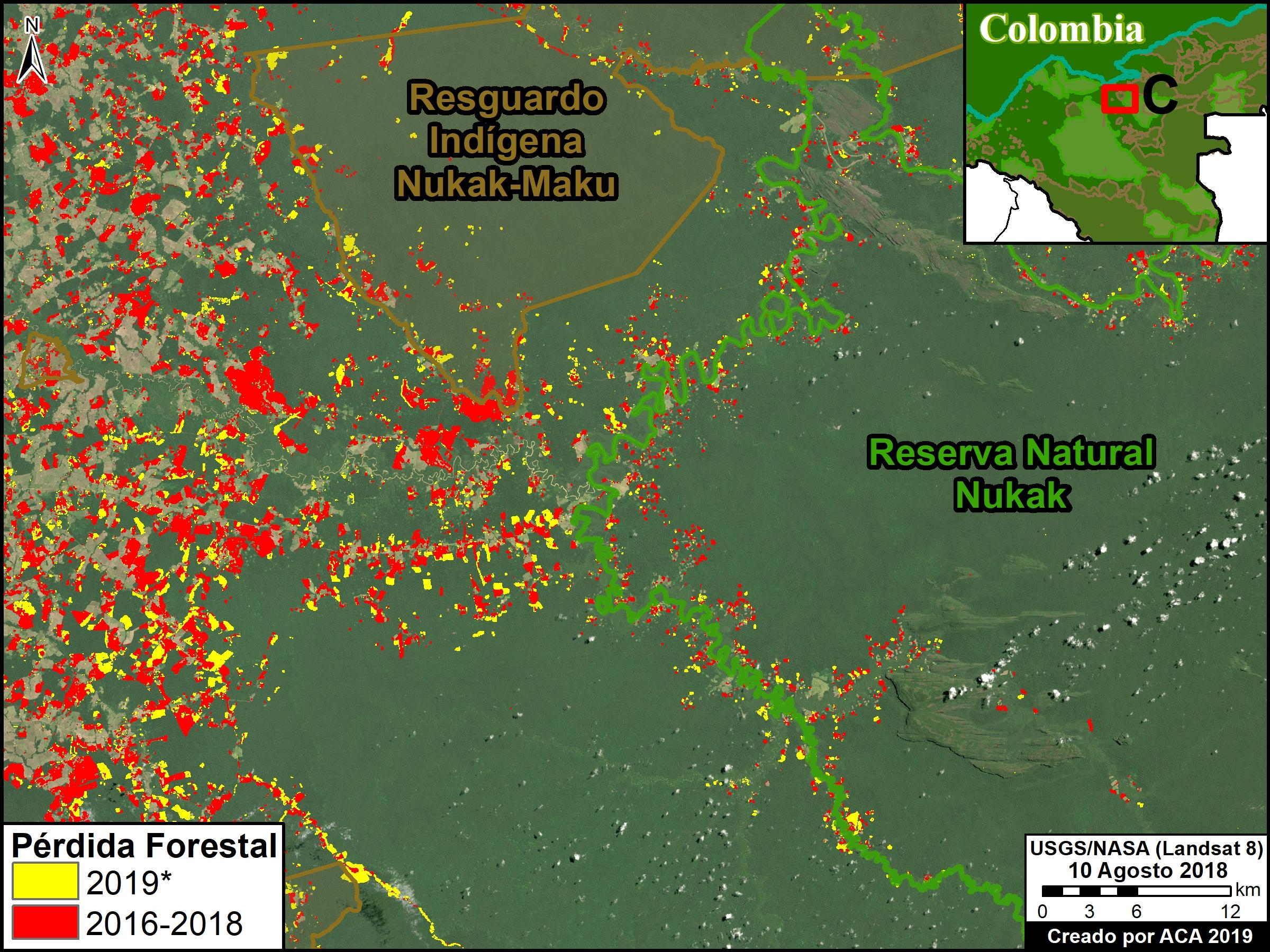 Deforestación parque Tinigua. Zoom C. Deforestación en la Reserva Nacional Nukak *hasta 25 de julio. Datos: UMD/GLAD, Hansen/UMD/Google/USGS/NASA, RUNAP, RAISG