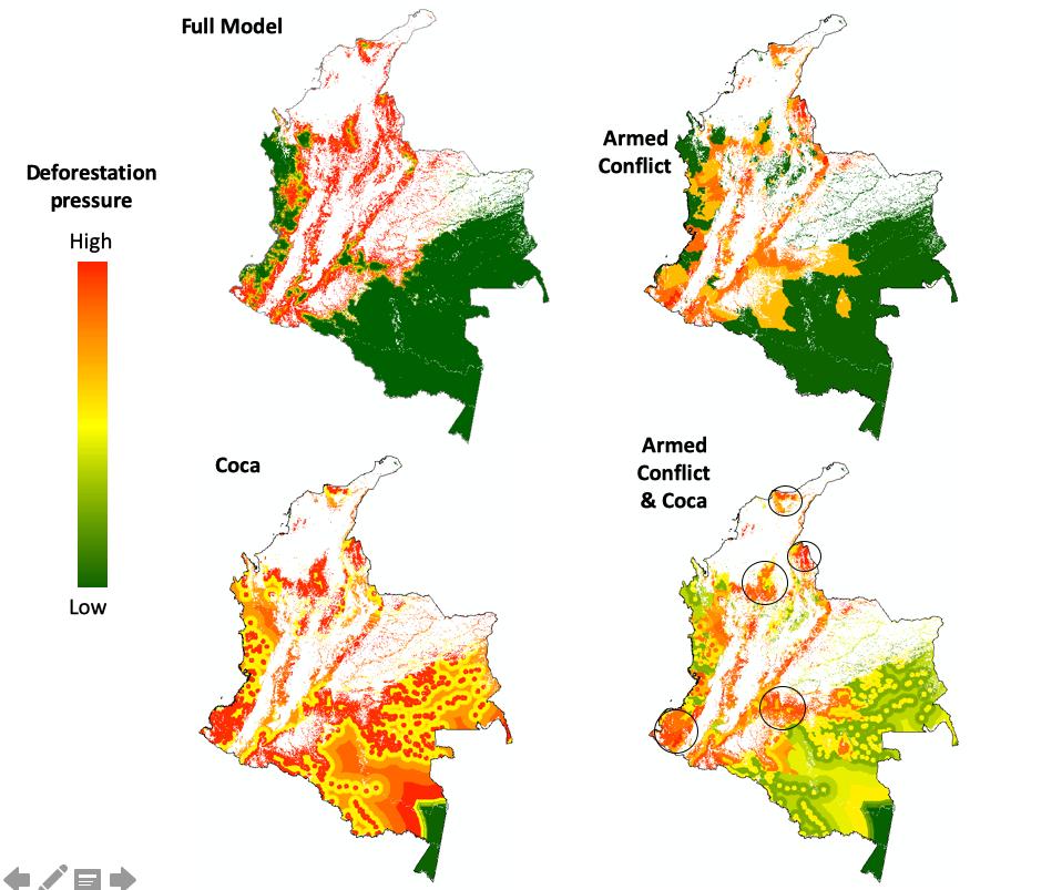 Conflicto armado y coca Colombia. Estos mapas muestran las zonas con mayor deforestación (más pérdida de bosque a medida que se pasa de verde a rojo). Con todas las varibales (superior izquierda), solo conflicto armado (superior derecha), solo cultivos de coca (inferior izquierda), cultivos de coca y conflicto armado (inferior derecha). Elaboración: Pablo Negret.