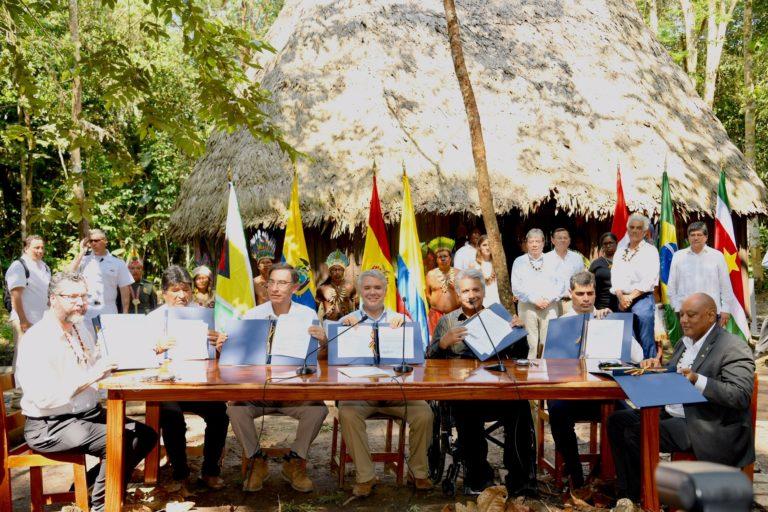 El departamento colombiano del Amazonas acogió el 6 de septiembre la Cumbre Presidencial por la Amazonía, en la cual siete países de la región firmaron el Pacto de Leticia. Foto: Nicolás Galeano - Presidencia de Colombia.