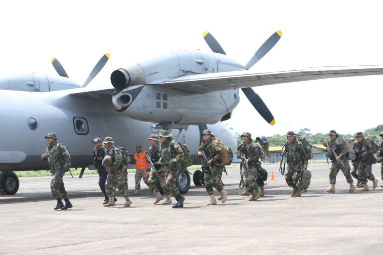 Cordillera del Cóndor. Las fuerzas armadas y la policía se ha instalado en la zona en conflicto. Foto: Agencia Andina.