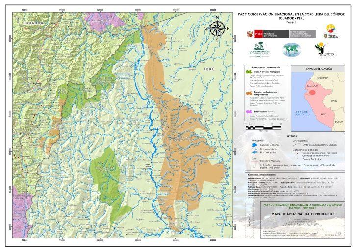 Mapa de la Cordillera del Cóndor. Fuente: Sernanp