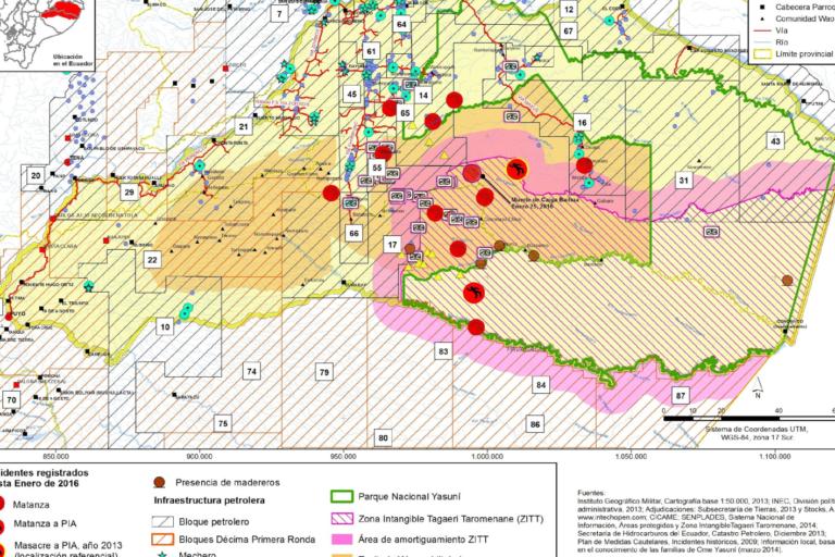 Mapa de la propuesta de corredor binacional Napo Tigre - Yasuni. Imagen: Eduardo Pichilingüe.