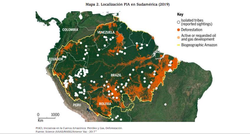 Mapa de localización de los pueblos en aislamiento en Sudamérica. Imagen: Land is LIfe.