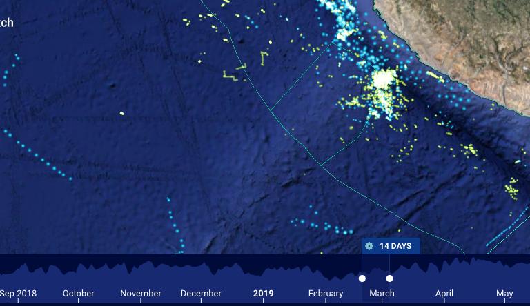 Imagen satelital de la propuesta de reserva Dorsal de Nasca. Fuente: Global Fishing Watch.