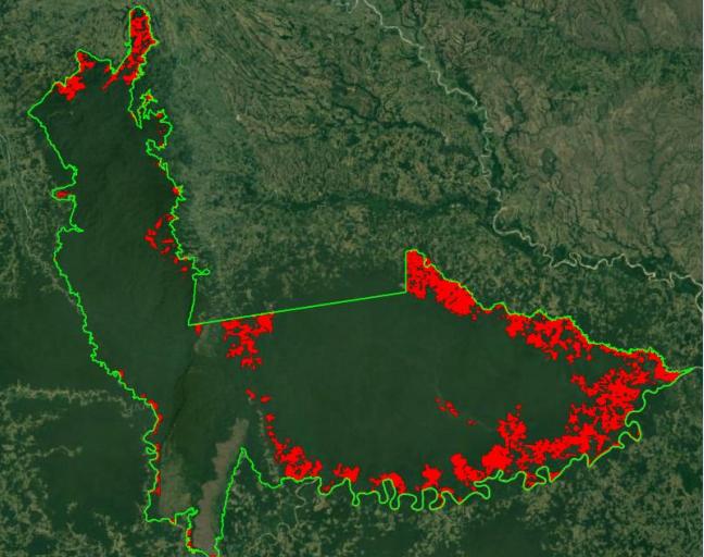 Para el 2017, la cifra de deforestación estaba en 55 893 hectáreas. Fuente: Parques Nacionales Naturales.
