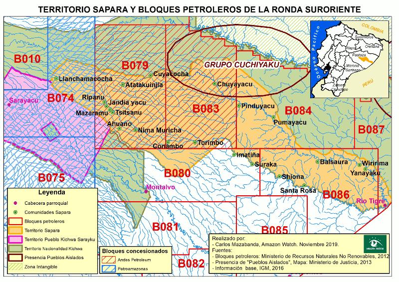 La ubicación de los bloques petroleros 79 y 83 en el territorio Sápara. Mapa cortesía de Carlos Mazabanda.