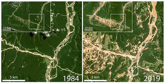 Las imágenes del satélite muestran los cambios que se han producido en los ríos y en la Amazonía entre 1984 y 2018. (Fuente: Universidad de Dartmouth / NASA).