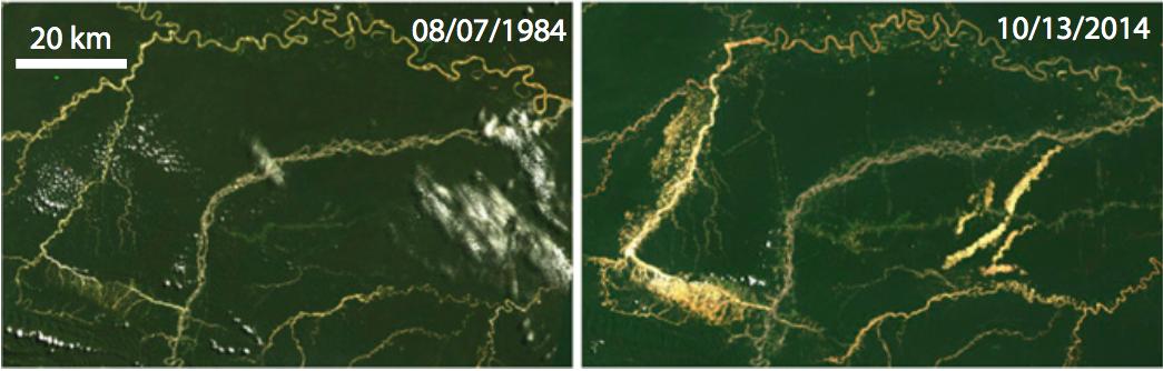 Imagen que compara la situación de los ríos entre 1984 y 2014. (Fuente: Universidad de Dartmouth / NASA).