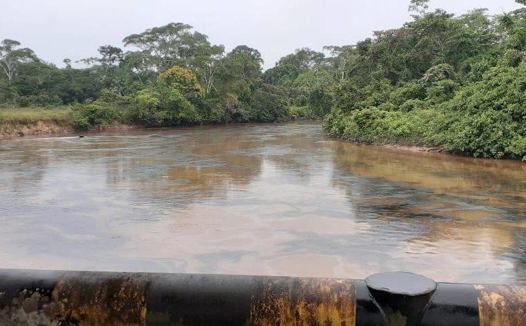 Las manchas de petróleo se observan sobre las aguas del Corrientes. Foto: Puinamudt.