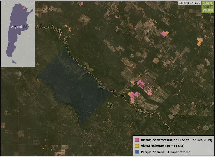 Datos e imágenes satelitales muestran un área de deforestación en curso relacionada con la agricultura cerca del Parque Nacional El Impenetrenable. Fuente: GLAD / UMD, consultado a través de Global Forest Watch.
