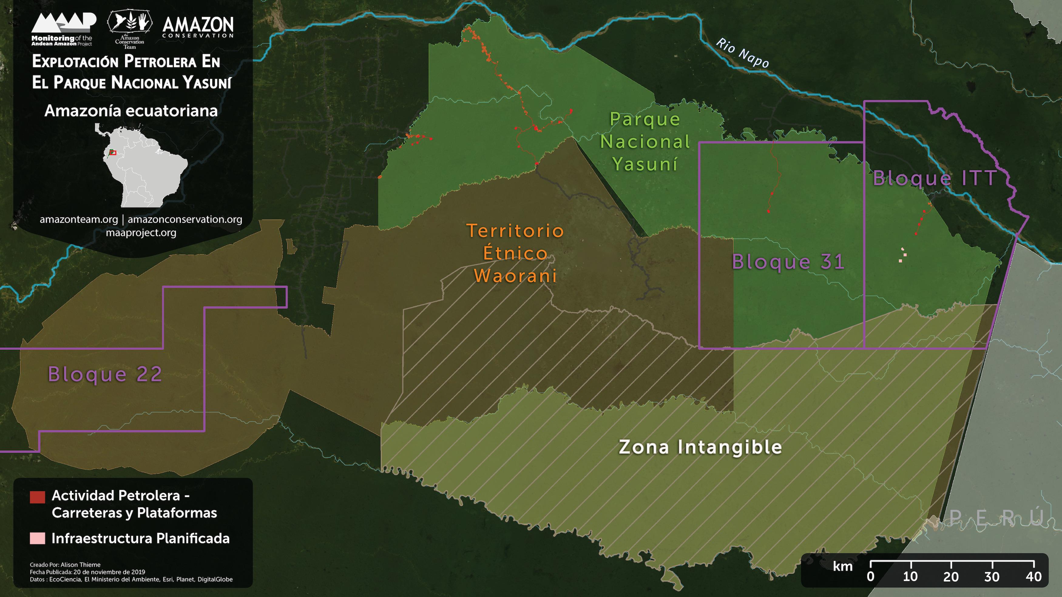 Petróleo en el Yasuní. Mapa Base. Explotación Petrolera en el Parque Nacional Yasuní. Datos: EcoCiencia, Ministerio del Ambiente, Esri, Planet, DigitalGlobe.