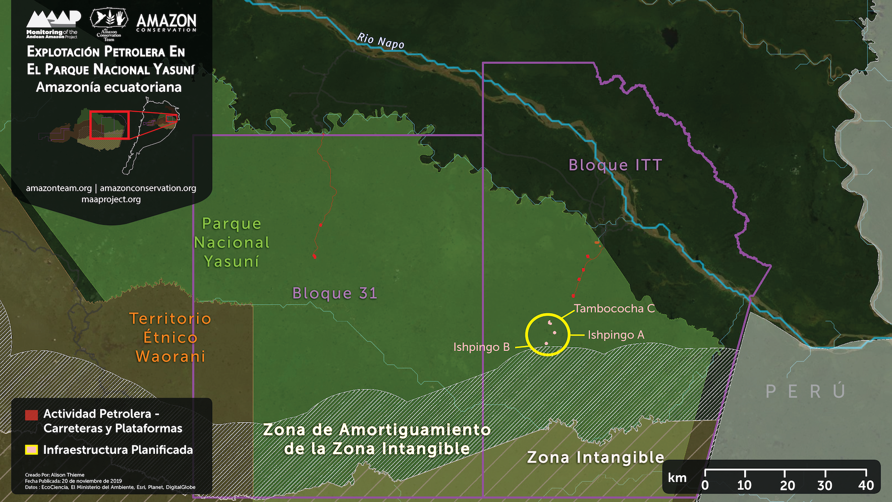 Petróleo en el Yasuní. Plataformas petroleras planificadas (ver círculo amarillo) cerca la zona de amortiguamiento de la Zona Intangible. Datos: EcoCiencia, Ministerio del Ambiente, Esri, Planet, DigitalGlobe.
