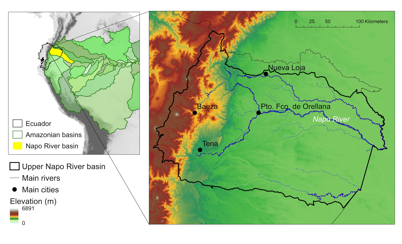 Conservación de ríos. La cuenca alta del río Napo es una cuenca andina-amazónica en Ecuador con un gran gradiente altitudinal y sistemas heterogéneos de agua dulce. Datos y elaboración: Janeth Lessman