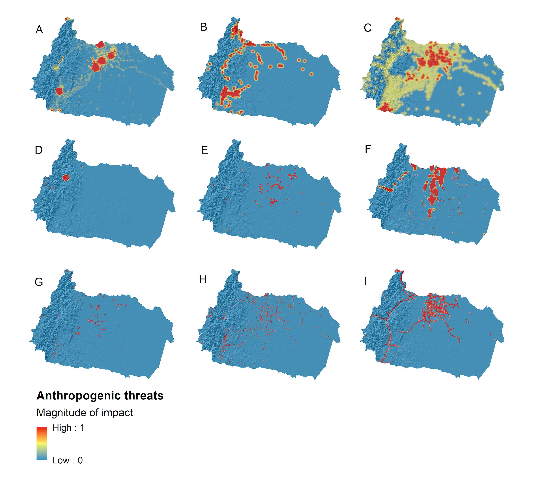 Conservación de ríos. La magnitud del impacto de cada amenaza oscila entre cero y uno. Los valores más cercanos a uno son sitios donde una amenaza dada tiene el máximo impacto en los sistemas de agua dulce. En contraste, un valor de impacto cero representa sitios sin registros de tales presiones. Las amenazas antropogénicas evaluadas fueron: (A) asentamientos humanos, (B) minería, (C) uso de tierras agrícolas, (D) centrales hidroeléctricas, (E) centrales termoeléctricas, (F) actividades petroleras, (G) extracción de agua, ( H) granjas acuícolas, y (I) caminos. Datos y elaboración: Janeth Lessmann.