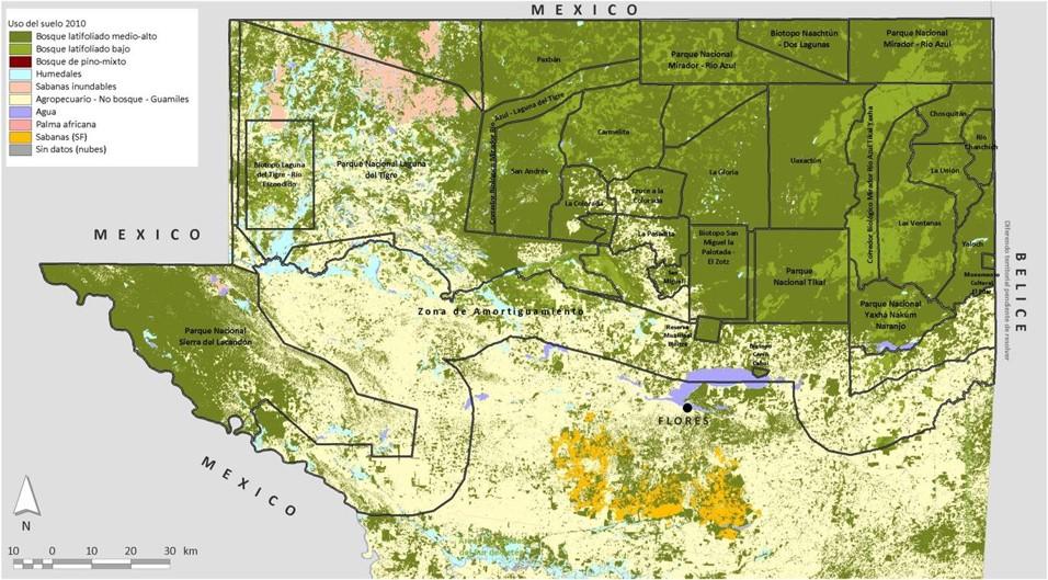 Mapa concesiones forestales Guatemala