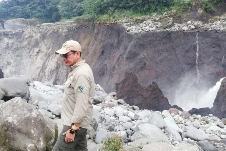 Cascada San Rafael. Personal del MAE de Ecuador hizo inspección en el terreno días después del colapso de la cascada San Rafael. Foto: MAE Sucumbíos.